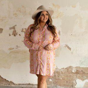 Pink Aztec Long Sleeve  Dress Draw String Plus